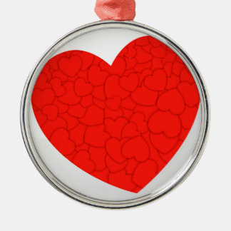 Red hearts metal ornament