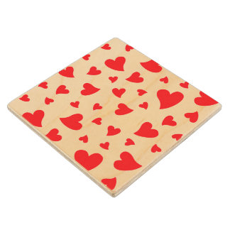 Red Hearts Wood Coaster