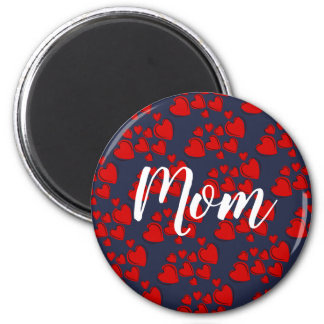 Red Hearts Mom Magnet