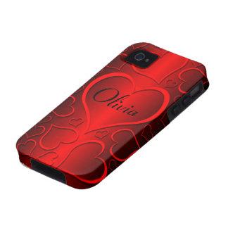 red hearts monogram iPhone 4/4S case