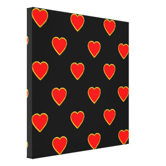 Red Hearts on a Black Background Canvas Print