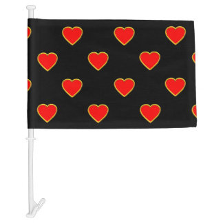 Red Hearts on a Black Background Car Flag