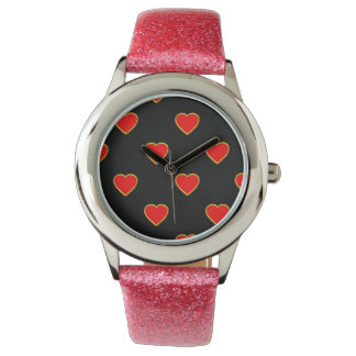 Red Hearts on a Black Background Watch
