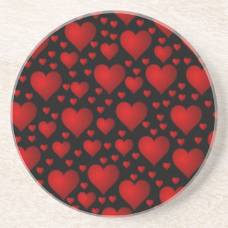 Red Hearts on Black Background Coaster