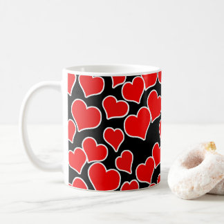 Red Hearts on Black Background Coffee Mug