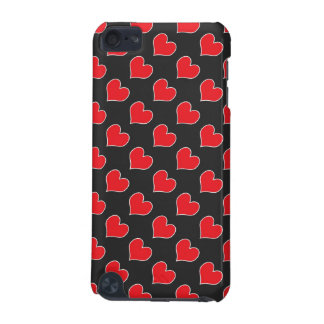 Red hearts on black pattern ipod touch case