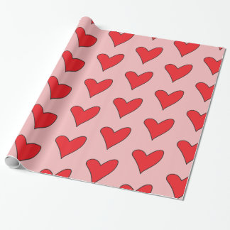 Red Hearts On Pink Wrapping Paper