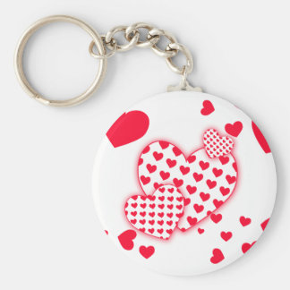 Red Hearts Patchwork Basic Round Button Key Ring