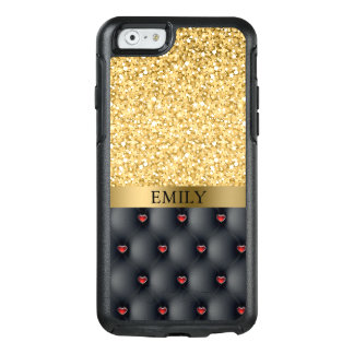 Red Hearts Pattern And Gold Glitter OtterBox iPhone 6/6s Case