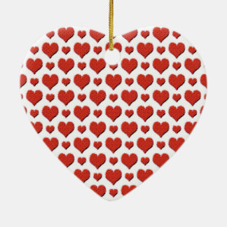 Red hearts pattern christmas ornament