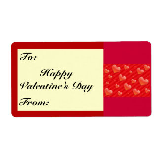 Red Hearts Pattern Shipping Label