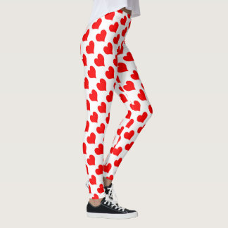 Red Hearts Pattern Leggings