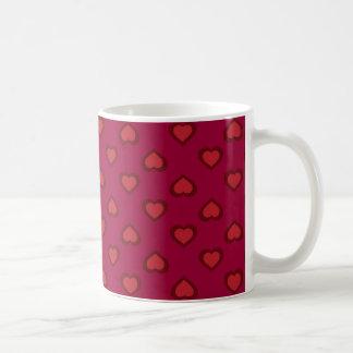 Red hearts pattern coffee mug