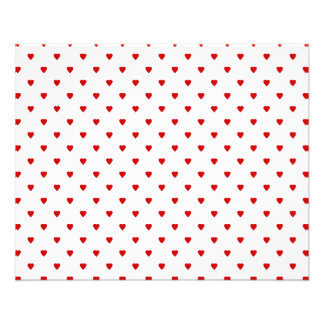 Red Hearts Pattern on a White Background. 11.5 Cm X 14 Cm Flyer