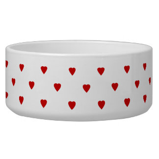 Red Hearts Pattern on a White Background. Dog Water Bowl