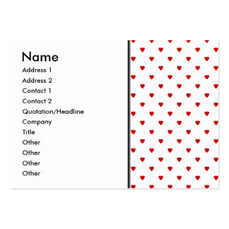 Red Hearts Pattern on a White Background. Pack Of Chubby Business Cards