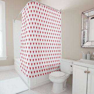 Red Hearts Pattern | Romantic Shower Curtain