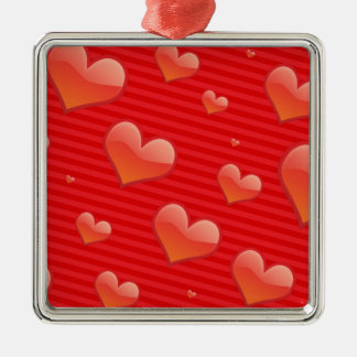 Red Hearts Pattern Silver-Colored Square Decoration