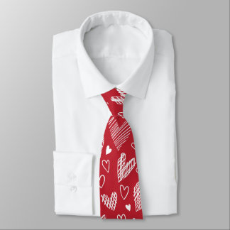 Red Hearts Pattern Valentines Tie