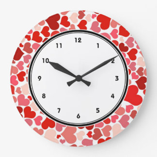 Red hearts pattern wallclock