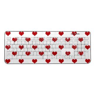 Red Hearts Pattern Wireless Keyboard