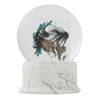 Red Hearts Pinto Horse by Bihrle Snow Globes