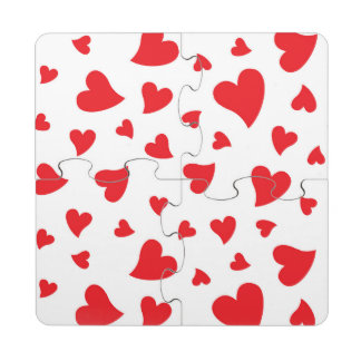 Red Hearts Puzzle Coaster