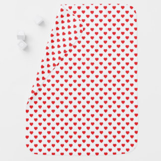 Red Hearts Polka Dot Pattern Baby Blanket