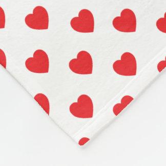 Red Hearts Polka Dot Pattern Fleece Blanket