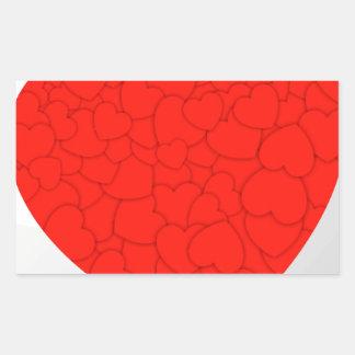 Red hearts rectangular sticker