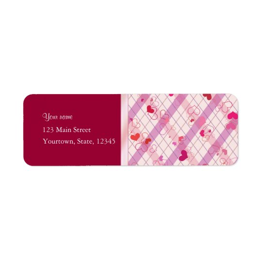 Red Hearts Return Address Label