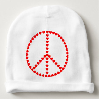 Red Hearts Round Peace Sign Baby Beanie