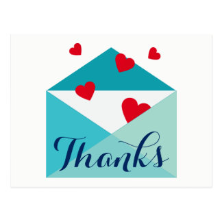 Red Hearts Sending Love Thank You Postcard