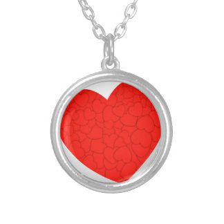 Red hearts silver plated necklace