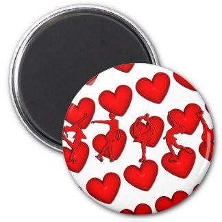 Red Hearts & Skaters 6 Cm Round Magnet