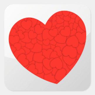 Red hearts square sticker