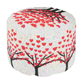 Red Hearts Trees Pattern Cute Love Pouf