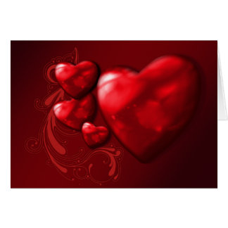 red hearts valentines greeting card