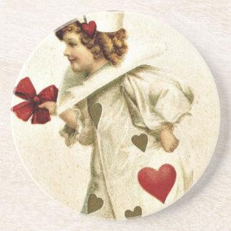 Red Hearts Vintage Valentine Drink Coaster