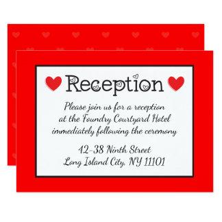 Red Hearts Wedding Reception - Black, White, Red 9 Cm X 13 Cm Invitation Card