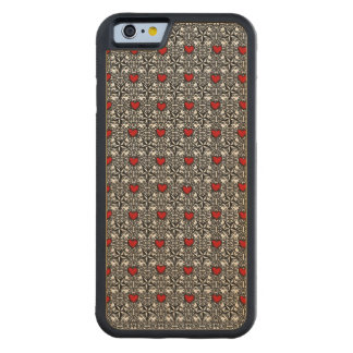 Red Hearts with Black and White Stars Maple iPhone 6 Bumper Case
