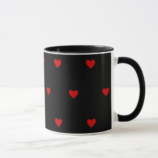 Red Hearts with Black Background Mugs