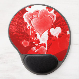 Red Hearts with Wings Gel Mouse Pad