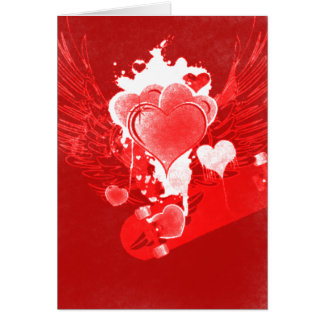 Red Hearts with wings Skateboard Valentine's Card