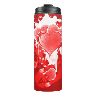 Red Hearts With Wings Thermal Tumbler