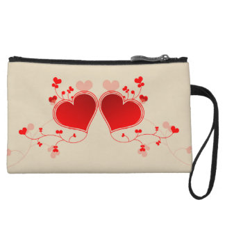 Red Hearts Wristlet