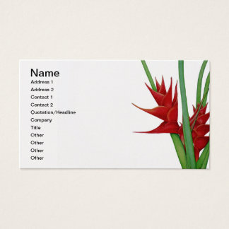 Red Heliconia Watercolour Business Card