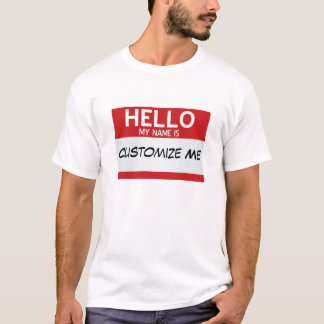 Red Hello My Name Is ... Customisable T-Shirt