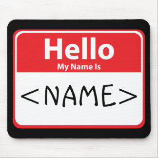 Red Hello My Name is NAME Mouse Mats