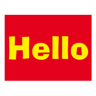 Red Hello Post Card